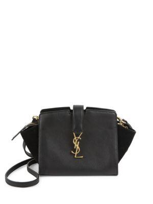9b7858d4b64b Saint Laurent Small Toy Cabas Monogram Leather   Suede Shoulder Bag In Eero