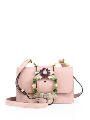 Madras Crystal Embellished Leather Shoulder Bag - Pink
