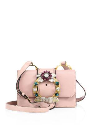 MIU MIU Madras Crystal Embellished Leather Shoulder Bag - Pink
