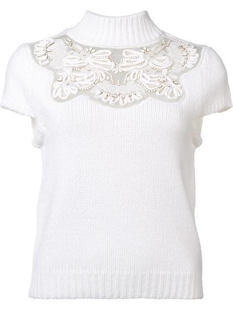 ALICE AND OLIVIA Carla Embellished Lace-Yoke Cap-Sleeve Sweater, Cream