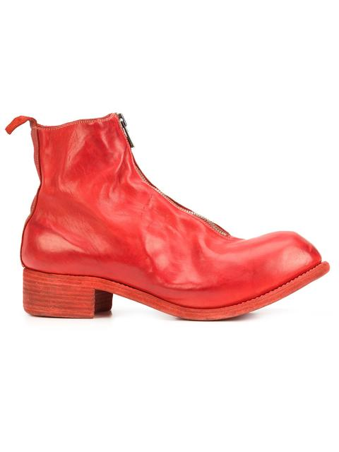 GUIDI Guidi Front Zip Ankle Boots - Red