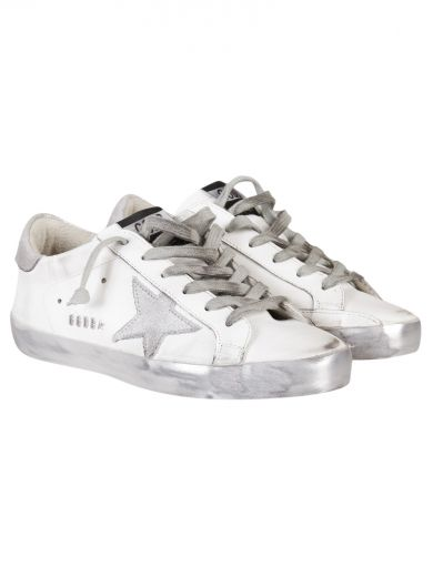 White Silver Metal Superstar Low Sneakers, Sparkle White/Silver Star