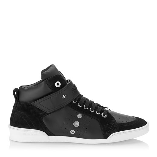 85461f3efb48 ... switzerland jimmy choo lewis black sport leather and suede high top  mens sneakers black black 07be5