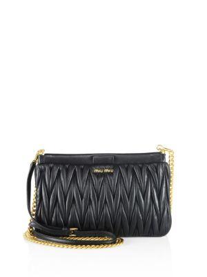 Matelasse Lambskin Leather Clutch - Black