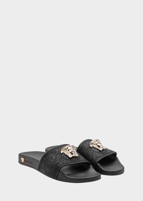 Palazzo Medusa Pool Slide Sandals, Black