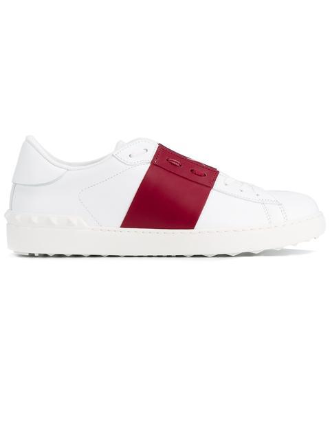 VALENTINO Open Color Block Leather Sneakers, White