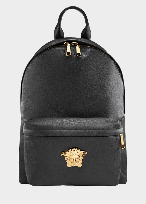 Men'S Embossed Leather Medusa Backpack, Black