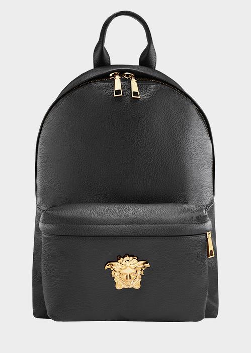 VERSACE Men'S Embossed Leather Medusa Backpack, Black
