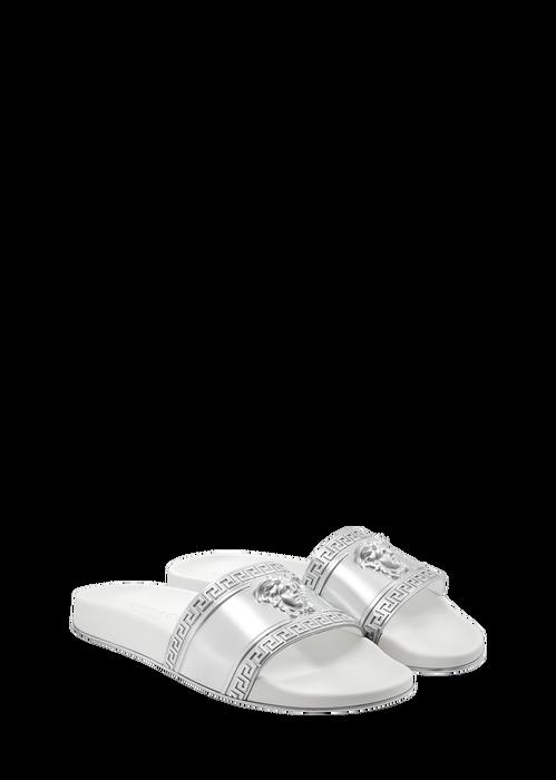 Men'S Medusa-Head Slide Sandal, Silver in Grey