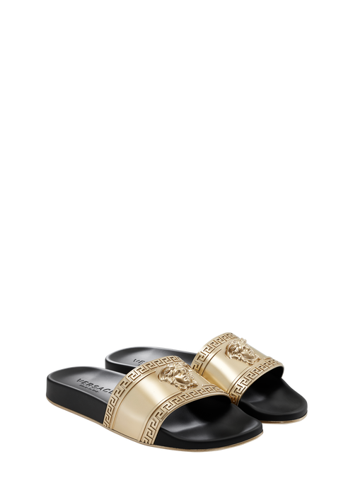 Gold Metallic Medusa Head Beach Slide Sandals