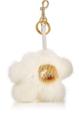 ANYA HINDMARCH Build A Bag Genuine Mink Fur Tassel Bag Charm - White