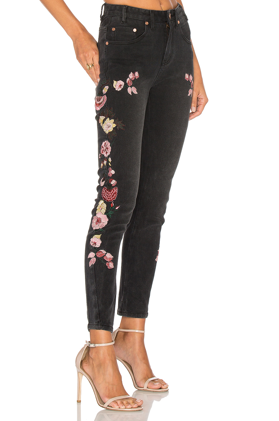 Birds Of Paradise Scallywags Embellished Skinny Jeans (Black Oak)