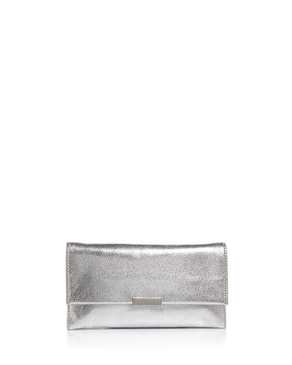 Metallic Leather Envelope Clutch - Metallic, Silver