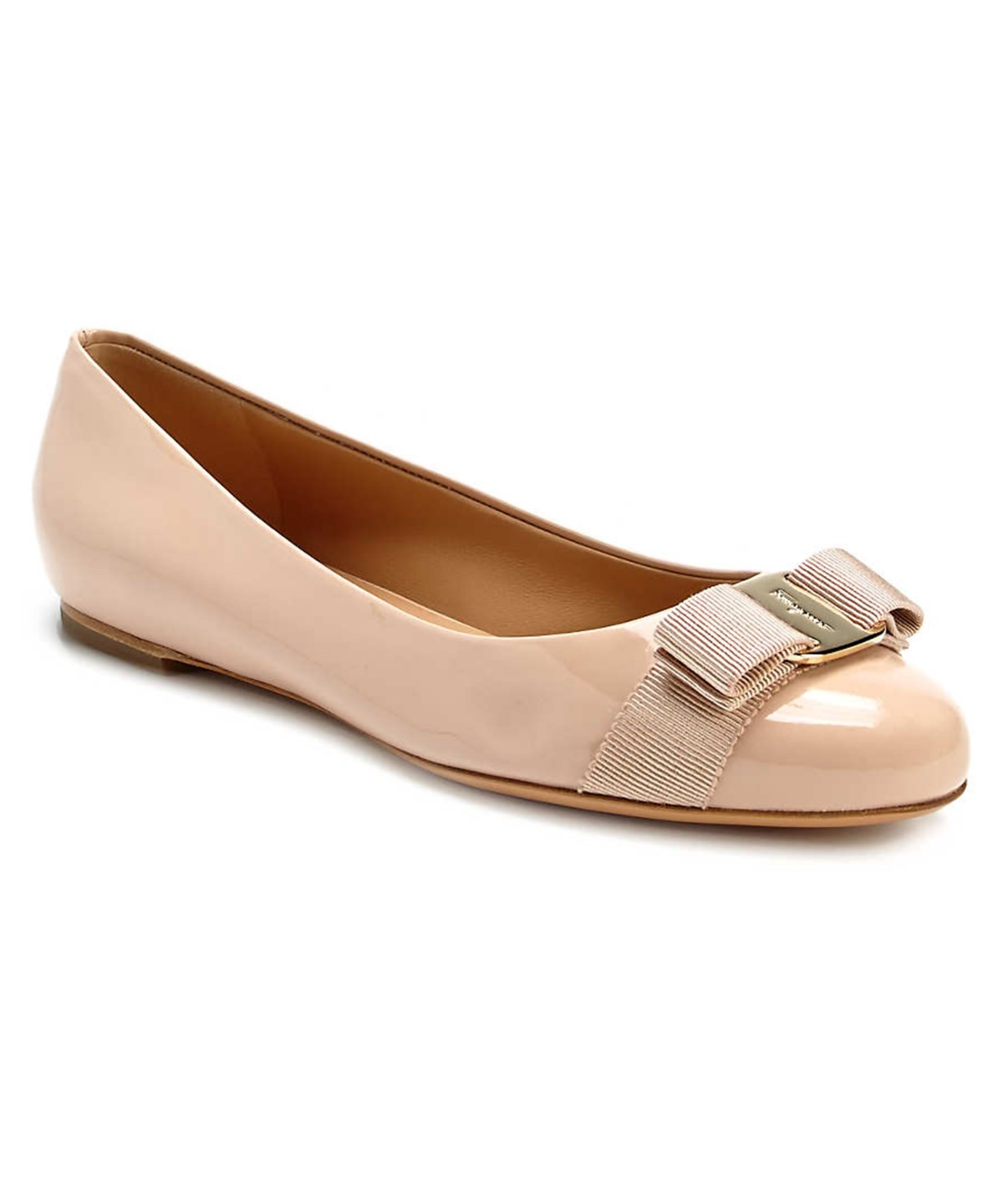 Varina Patent Leather Bow Flat, New Bisque, Khaki
