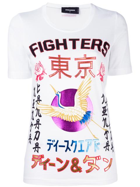 Dsquared2 'Fighters' Crane Kanji T-Shirt - White