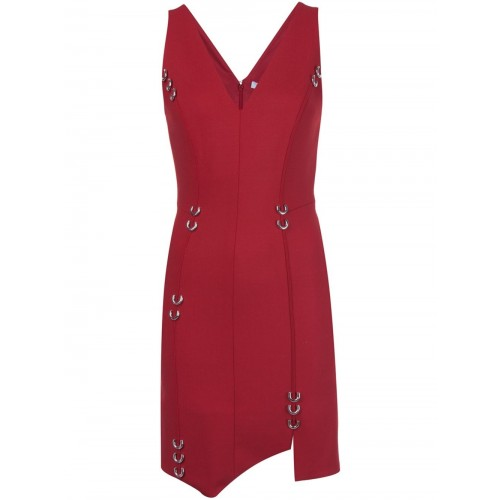 MUGLER PIERCING DETAIL ASYMMETRIC DRESS, CHERRY