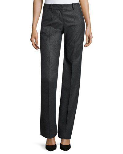 GIORGIO ARMANI Straight-Leg Wool/Cashmere Pants, Gray