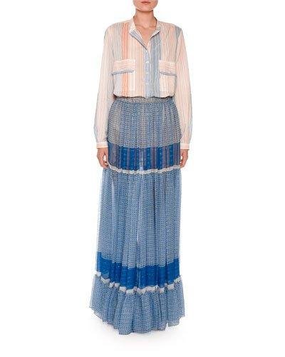 Woman Elsa Tiered Printed Silk-Blend Chiffon Maxi Skirt Blue