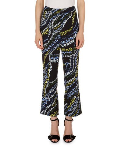 ERDEM Verity Cropped Flare-Leg Pants, Black Multi
