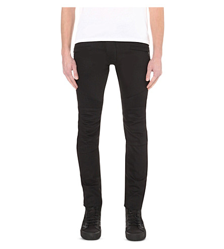 Biker Slim-Fit Skinny Stretch-Denim Jeans, Noir/Black