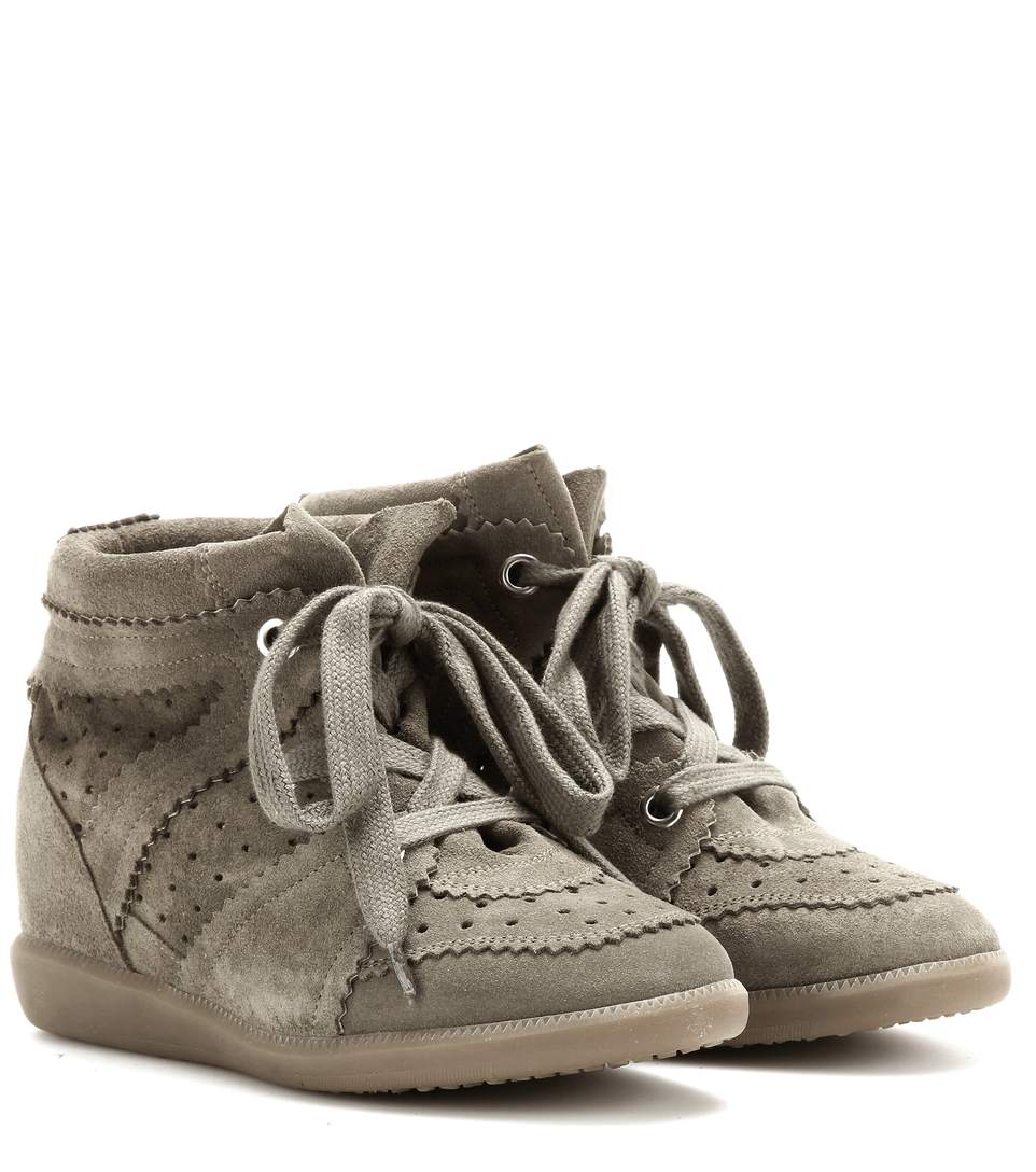 80Mm Bobby Suede Wedge Sneakers in Green
