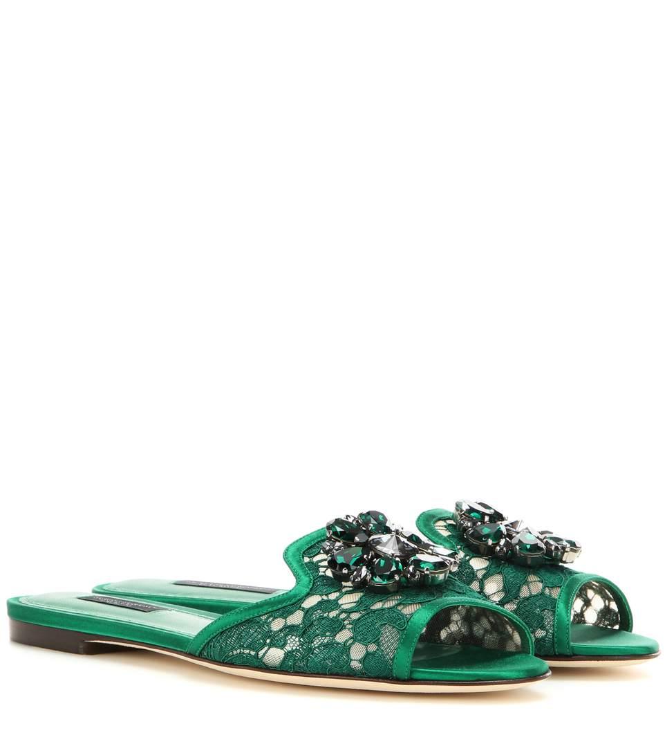 Crystal-embellished lace slides Dolce & Gabbana w6Sgec