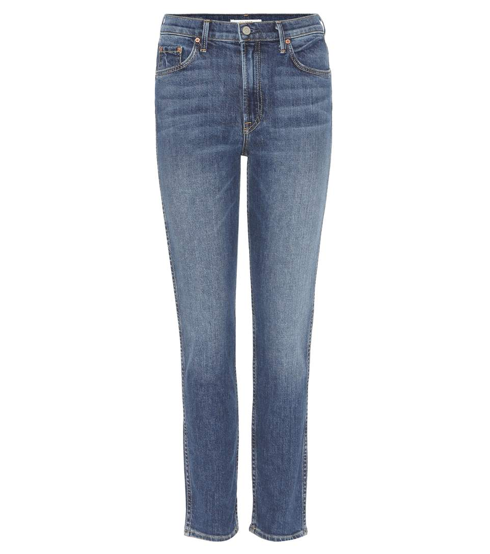 Helena Cropped Distressed Mid-Rise Straight-Leg Jeans in Mid Denim