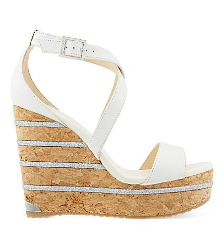 JIMMY CHOO Portia 120 Leather Ankle-Wrap Cork Wedge Sandals, Optic White