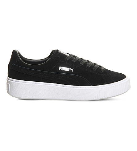 Women'S Suede Platform Casual Sneakers From Finish Line in Black