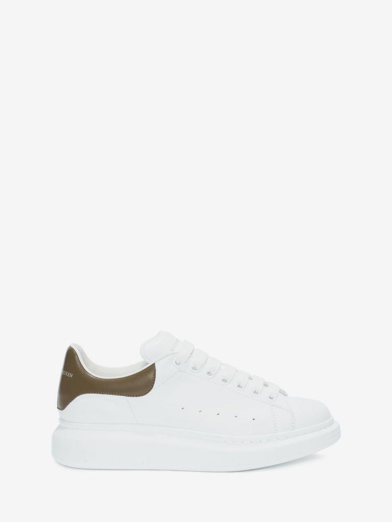ALEXANDER MCQUEEN Men'S Leather Low-Top Sneakers W/Golden Heel, White, White/Khaki