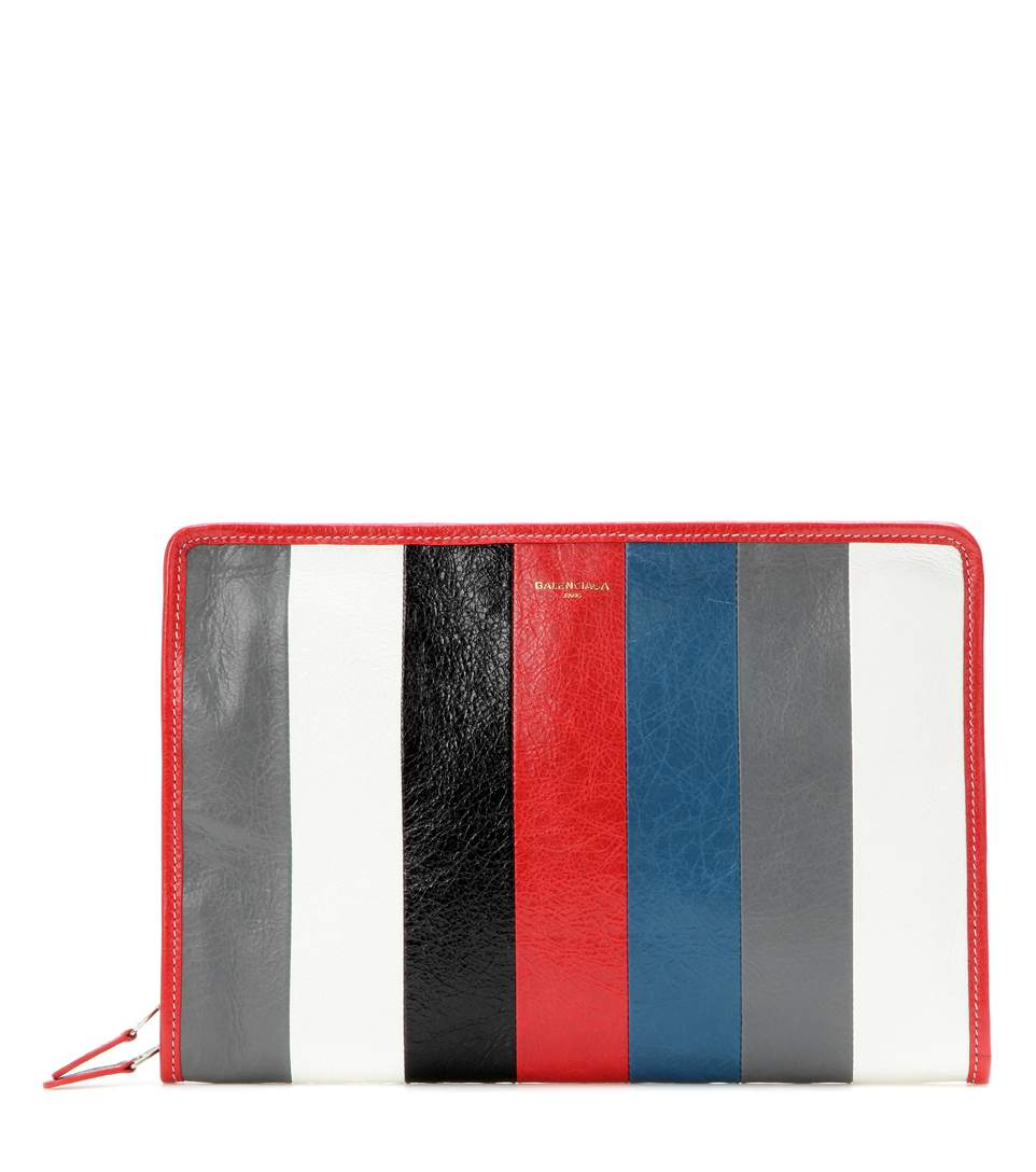 Bazar Leather Clutch, Gris