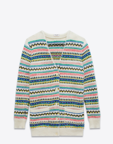 SAINT LAURENT Oversized Fair Isle Cardigan In Ivory And Multicolor ...