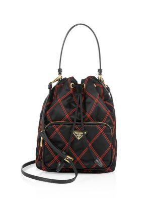 13c73642e590 Prada Tessuto Impunturato Quilted Bucket Bag In Nero | ModeSens