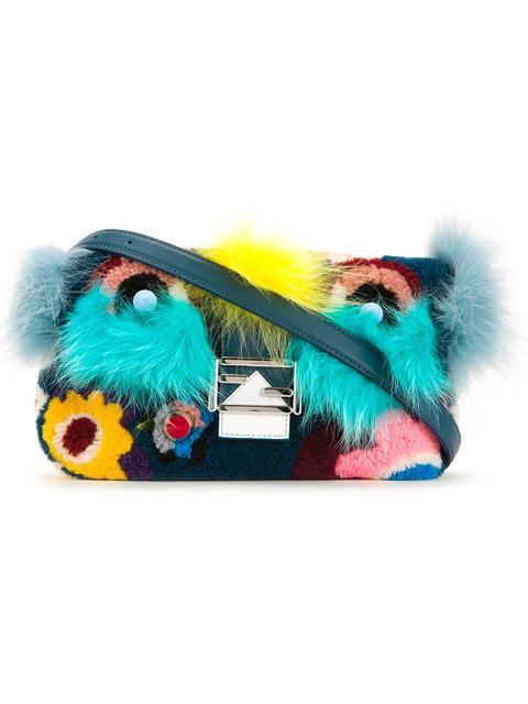 'Monster' Genuine Shearling & Genuine Fox Fur Baguette - Blue, Multicolour