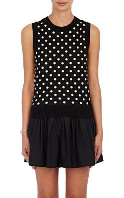 MARC JACOBS Polka Dot & Striped Cotton Sweatervest in Black Multi
