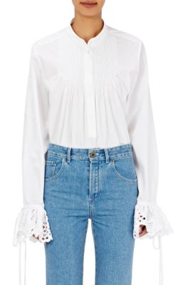 Broderie Anglaise-Trimmed Cotton-Poplin Blouse, White