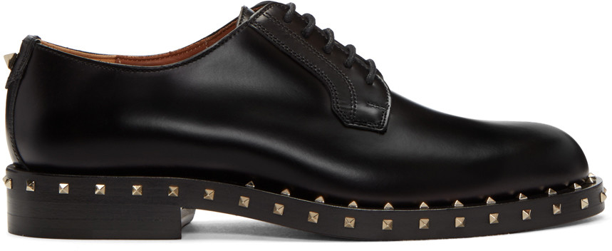 Soul Rockstud Leather Derby Shoes in Black