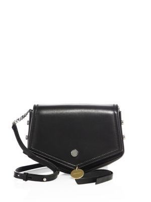 'Arrow' Chevron Leather Crossbody Bag in Black