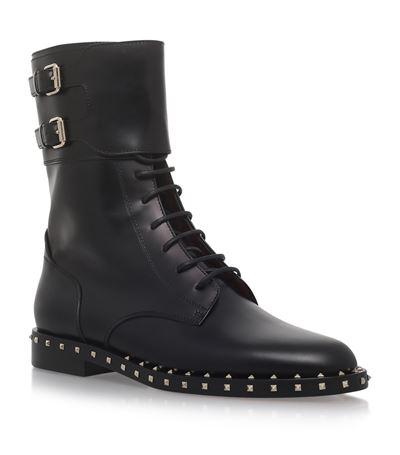 Soul Rockstud Leather Moto Boot, Nero/Platino, Black