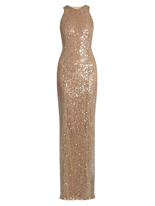 Sequined Racerback Column Gown, Medium Brown
