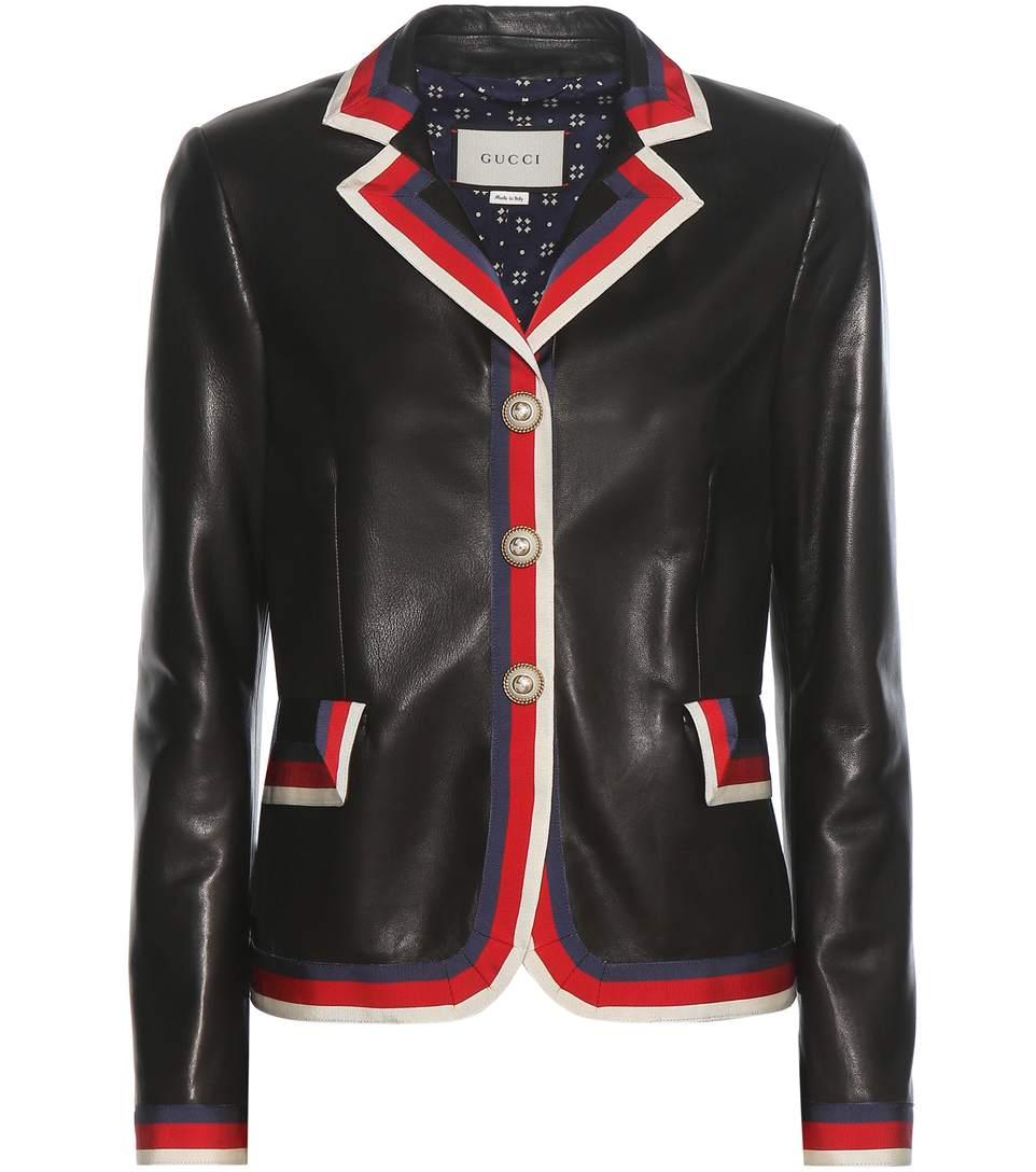 Grosgrain-Trimmed Appliquéd Leather Blazer, Llack