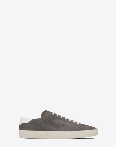 Signature Court Classic Sl/06 Sneaker In Black And White Perforated Leather, Clay Grey