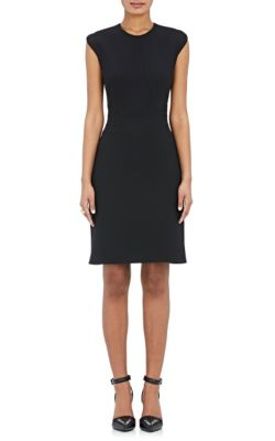 Fitted Pencil Dress With Cap Sleeve  And Contoured Seams in Black