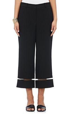 Cropped Wide-Leg Pants With Fishline Trim, Matrix in Black