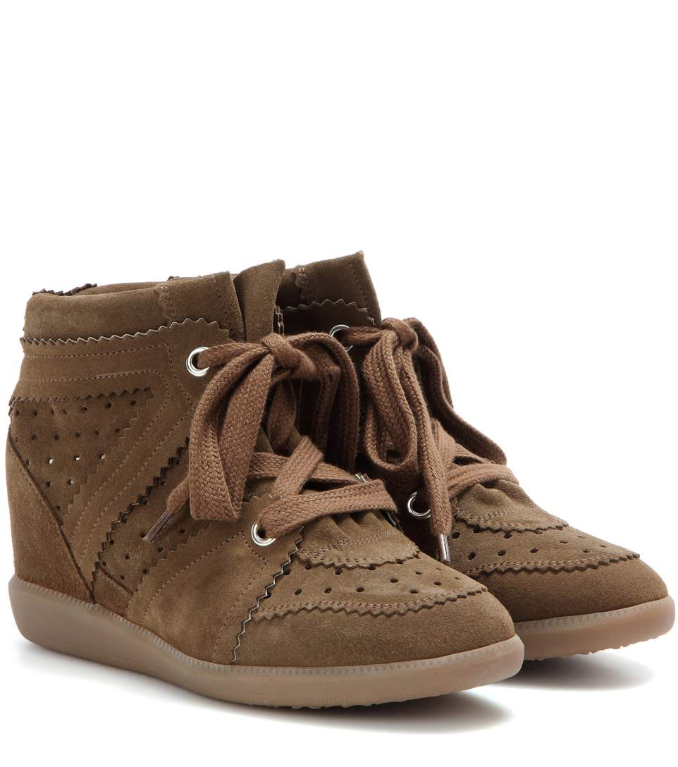The Bobby Suede Wedge Sneakers in Brown