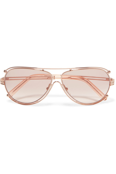 Isidora Aviator-Style Rose Gold-Tone Sunglasses in Neutrals