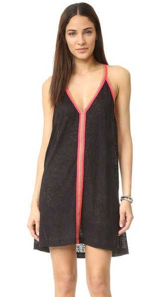 PITUSA Cover-Up Dress in Black W/Fuchsia
