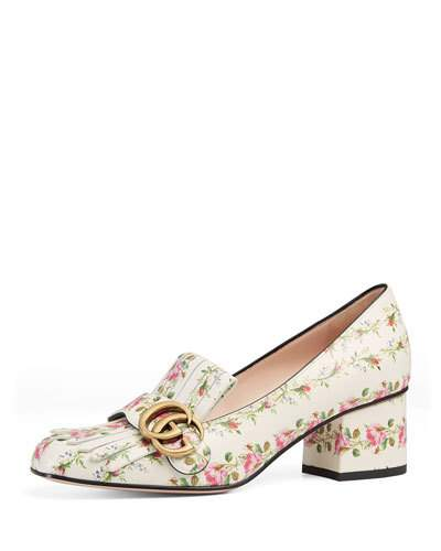 Marmont Gg  Kiltie Rose-Print Leather Loafers, White Patterned