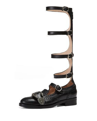 20Mm Queercore Leather Gladiator Boots, Black
