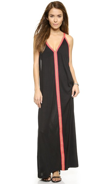 PITUSA Abaya Maxi Dress in Black W/Fuchsia